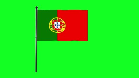4K Portugal, Portuguese flag is waving in green screen.