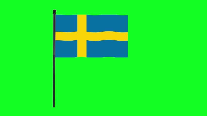 4K Sweden, Swedish flag is waving in green screen.