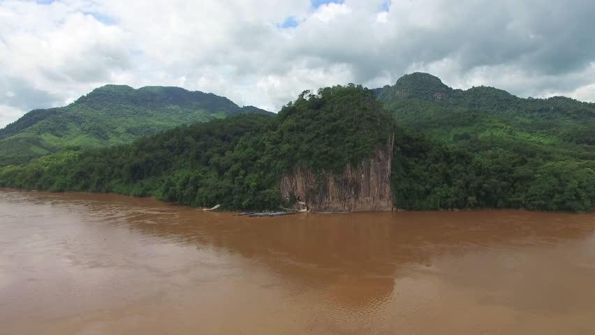 Aerial View Of Tham Ting Or Pak Ou Cave At Luang Prabang, Laos