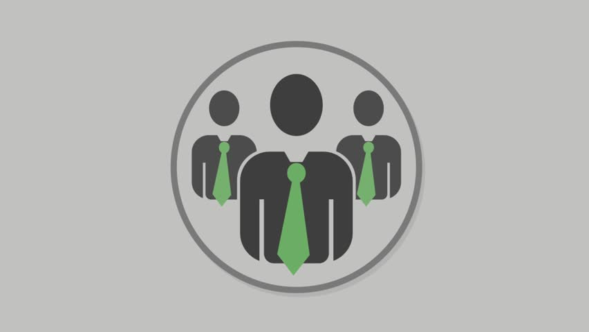 Corporate people icons animation with grey background.Businessmen Half icon animation with grey background.