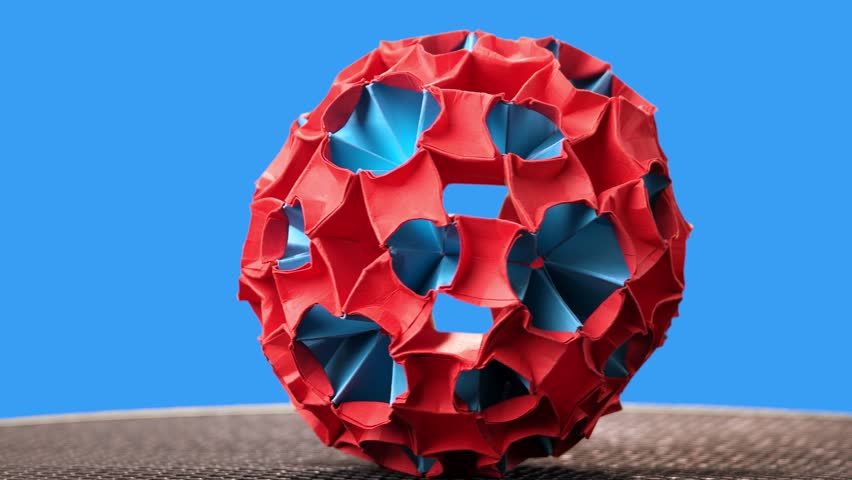 Red And Blue Origami Magic Ball Stock Video Hd Royalty Free