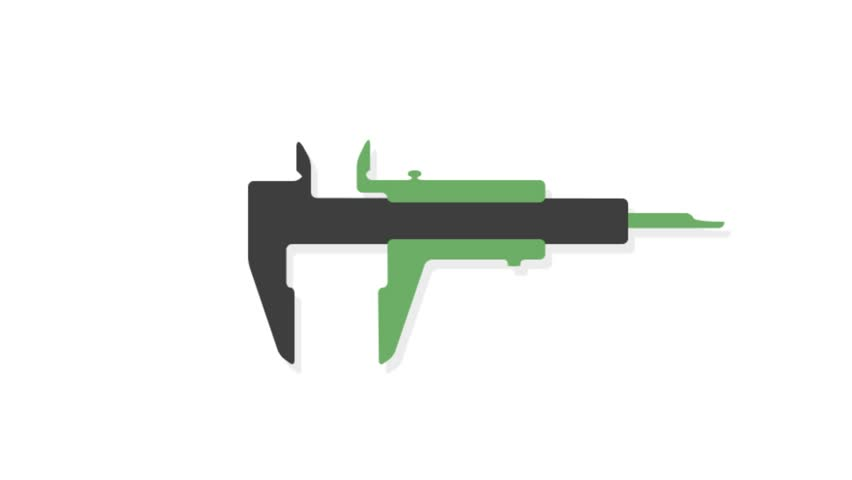 Engineering icons animation with white  background.Vernier caliper icon animation with white background.