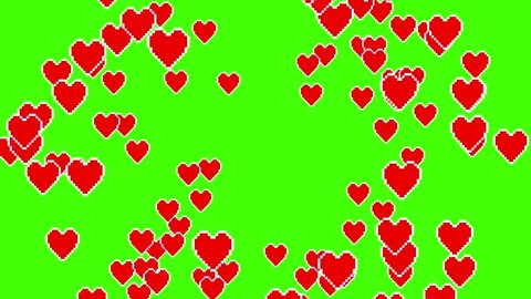 many pixel heart shape like icon explosion from center overlay loopable animation green screen background New unique quality universal motion dynamic colorful joyful dance music holiday video footage
