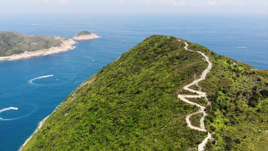 The hiking trails in hong kong global geopark | Shutterstock HD Video #1014630713