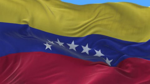 4k seamless Close up of Venezuela flag waving in wind.A fully digital rendering,The animation loops at 20 seconds.flag 3D animation with alpha channel included. cg_06375_4k