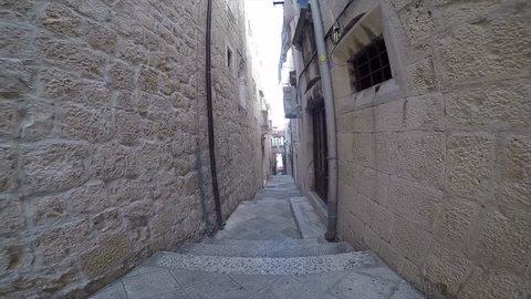 Narrow streets in Korcula Old Town, Korcula, Dalmatia, Croatia, Europe