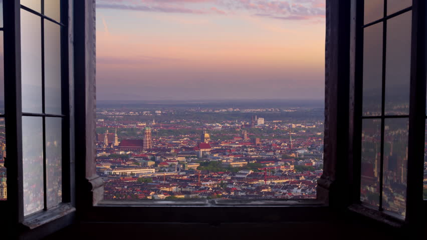 Munich skyline aerial view seen through window timelapse day to night | Shutterstock HD Video #1014649403