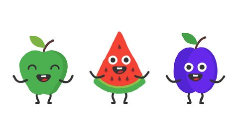 Set dancing fruits apple watermelon plum. Loop animation. Alpha channel.