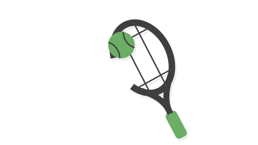 Sports icons animation with white  background.Tennis icon animation with white background.