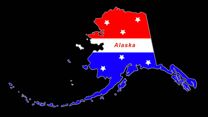 Alaska red, white, blue animated map.  Alpha Chan/Transparent. Time compresses nicely.