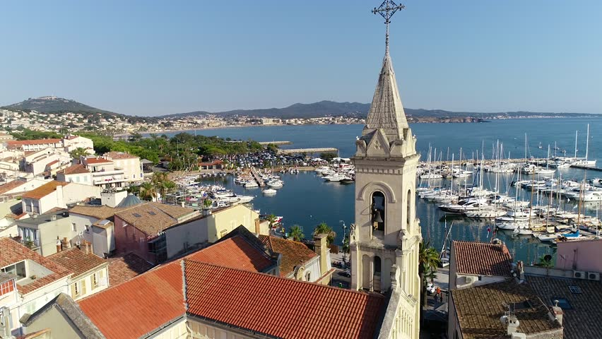 Aerial view of Sanary sur Mer harbor in France, famous traditional village of Provence | Shutterstock HD Video #1014703133