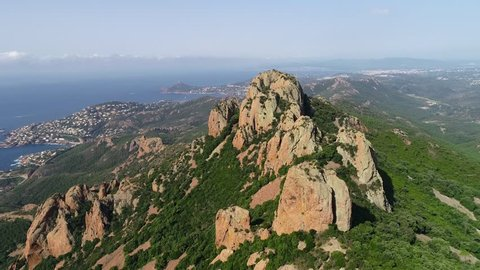 Aerial view of Massif Esterel on French Riviera, between Cannes and Saint Raphael,