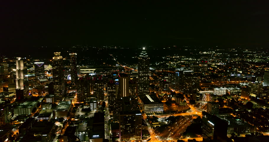 Atlanta Aerial v472 Panning downtown and midtown cityscape night view with freeway detail 7/18