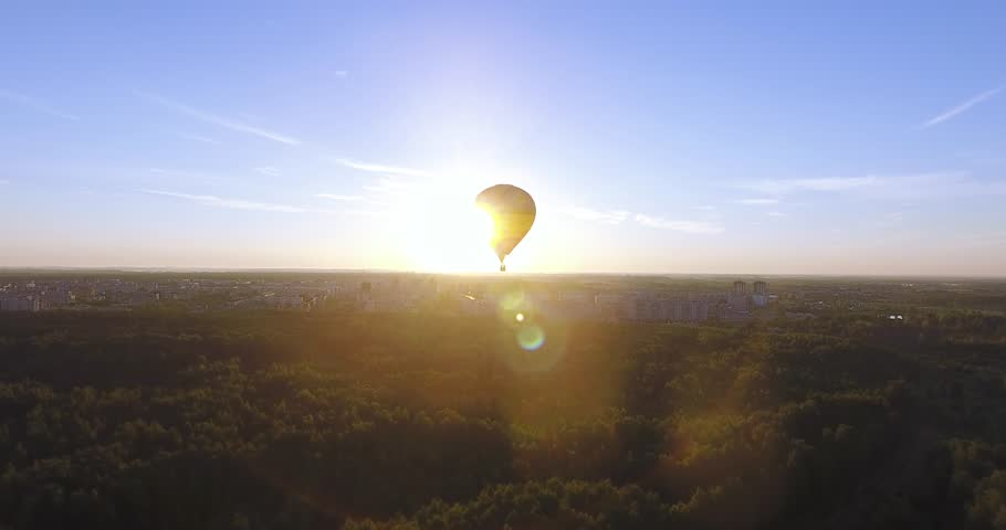 Balloon flying at dawn