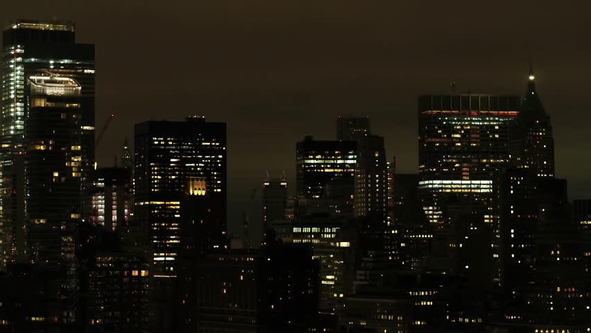 Night aerial footage New York Manhattan 4k 24p