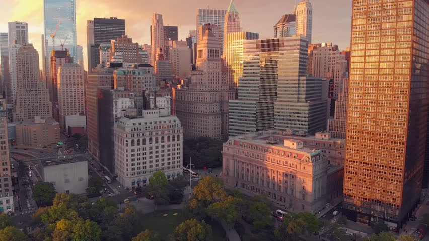 Financial heart. Top view of Wall street of New York with modern architecture