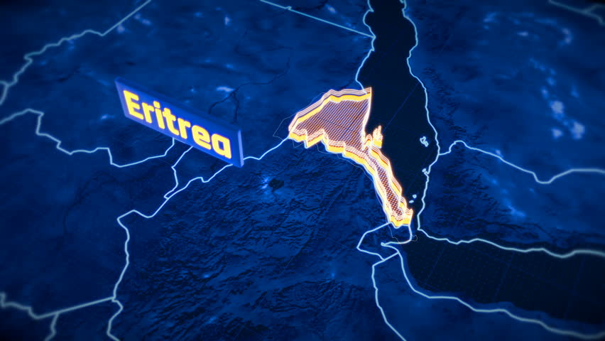 Eritrea country border 3D visualization, modern map outline, travel