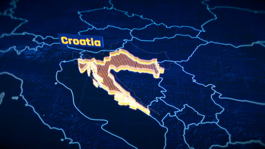 Croatia country border 3D visualization, modern map outline, travel