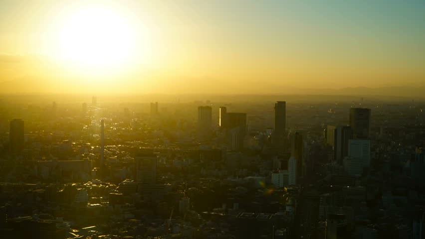 Mt. Fuji sunset from Tokyo Roppongi Long-time photography time lapse