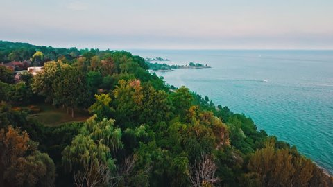 Aerial footage from Scarborough Bluffs Park, Toronto, Ontario.
