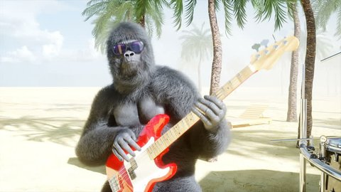Funny gorillas and monkeys play on guitar and drums. Rock party on sunny seaside. Realistic 4K animation.
