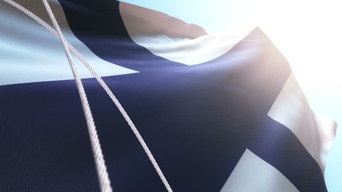Animation of waving Flag of Finland. Animation of seamless loop.