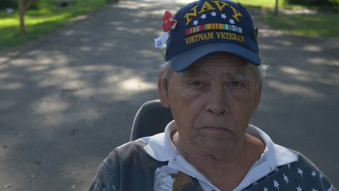 Close up of a disabled Navy veteran