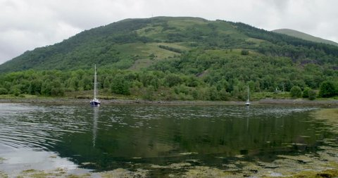 Boat moored up in front of the Scottish Highlands