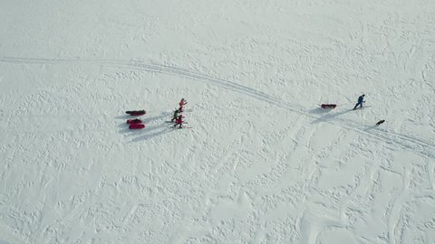 Flying over polar expedition on Svalbard