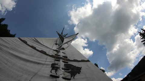 Teepee and clouds timelapse in 4k