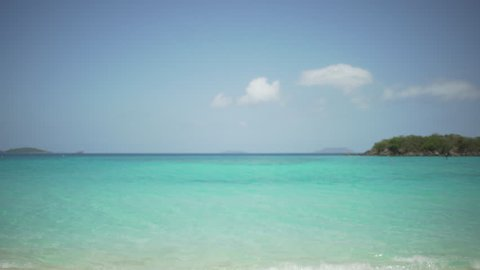 Empty shot of the Caribbean ocean with blue waters for green screen or chroma key. Out focus or defocused background plate for compositing or keying.
