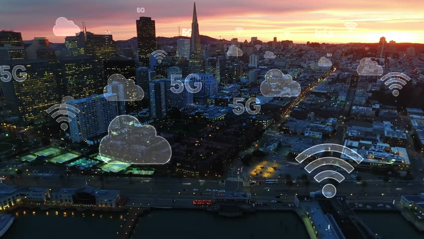 Aerial city connected through 5G. Wireless network, mobile technology concept, data communication, cloud computer, artificial intelligence, internet of things. Futuristic city. San Francisco skyline. | Shutterstock HD Video #1015058233