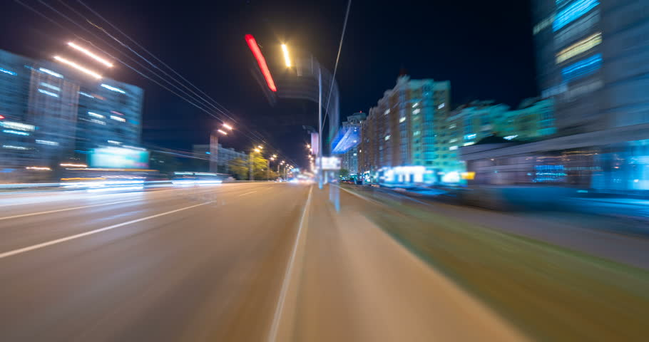 The walk in the night street in the city. time lapse | Shutterstock HD Video #1015062373