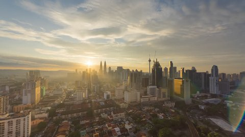 Time lapse: Kuala Lumpur city view during dusk overlooking the city skyline and national landmarks. Prores Full HD 1080p.