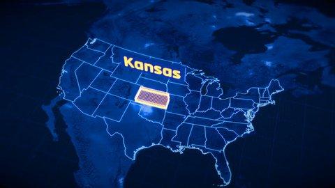 US Kansas state border 3D visualization, modern map outline, travel