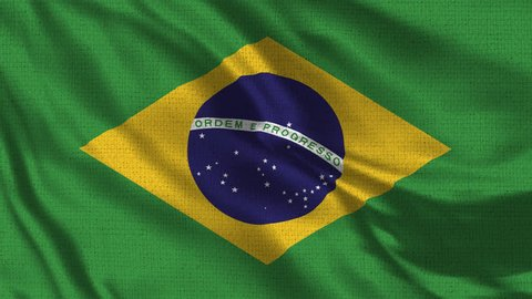 Brazil Flag Loop - Realistic 4K - 60 fps flag waving in the wind. Seamless loop with highly detailed fabric texture. Loop ready in 4k resolution