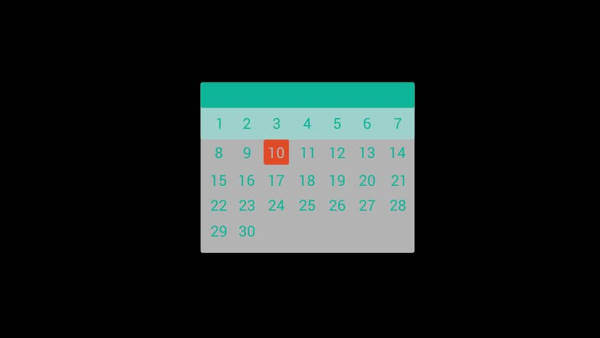 Information Technology icons animation with black png background.Calendar icon animation with black png background.