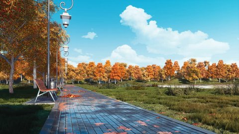 Wet after rain pavement walkway with empty benches, colorful fall trees and fallen autumn leaves in a city park at calm sunny day. With no people realistic 3D animation rendered in 4K
