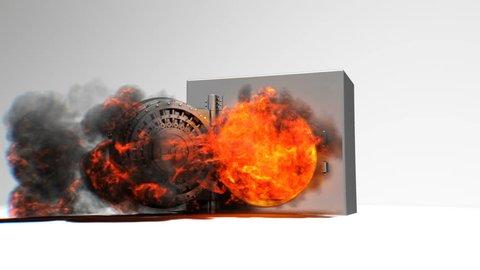 Bank Vault door is blown open by explosion.