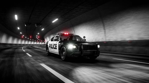 Police car rides trough tunnel 3d rendering