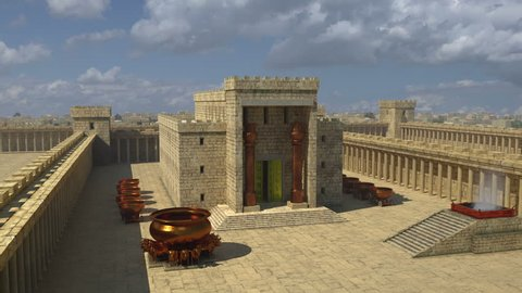 An artistic impression of Solomon's Temple. A wide pan across the front of Solomon's Temple showing the Brazen Altar, the Molten Sea and the water bowls.