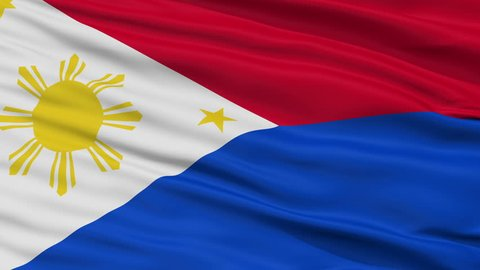 War The Philippines Flag, Closeup View Realistic Animation Seamless Loop - 10 Seconds Long