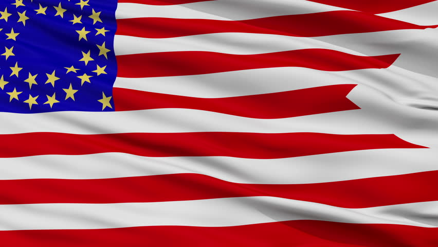 Us Cav 35 Flag, Closeup View Realistic Animation Seamless Loop - 10 Seconds Long