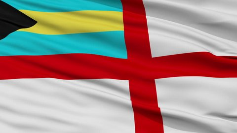 Naval Ensign Of The Bahamas Flag, Closeup View Realistic Animation Seamless Loop - 10 Seconds Long