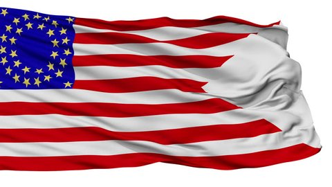 Us Cav 35 Flag, Isolated View Realistic Animation Seamless Loop - 10 Seconds Long