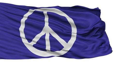 Peace Protest Flag, Isolated View Realistic Animation Seamless Loop - 10 Seconds Long