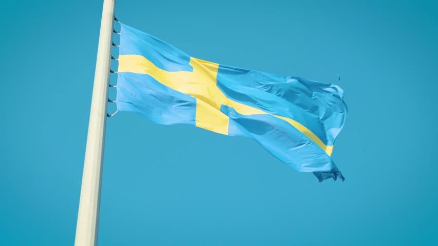 Real Sweden flag.Flag of Sweden. 4k