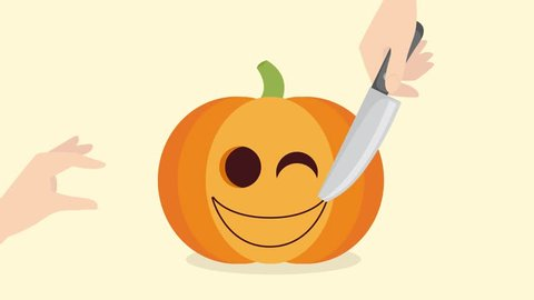 Happy Halloween with 2D flat cartoon pumpkin. Somebody is cutting the pumpkin and then the funny pumpkin's face glows at night. This animation (motion) creates the holiday's mood the best.