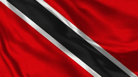 Trinidad Tobago Flag - Realistic 4K - 60 fps flag of the waving in the wind. Seamless loop with highly detailed fabric texture. Loop ready in 4k resolution.