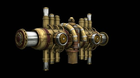 Steampunk Equalizer 3d model. ALPHA MATTE. Ideal 3D model animation in 4K for stage design, movies, TV shows, intro, news, commercials, futurism and steampunk related projects.
